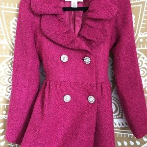 ARDEN B magenta wool blend coat w/crystal buttons